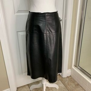 LEATHER A-LINE PENCIL SKIRT